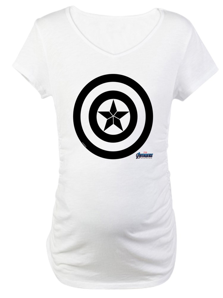 CafePress - Captain America Shield Maternity T Shirt - Cotton Maternity T-shirt, Cute & Funny Pregnancy Tee