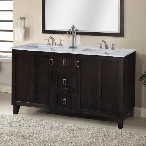 Contemporary Style Carrara 60-inch White Marble Top Double Sink Bathroom Vanity in Dark Brown Finish