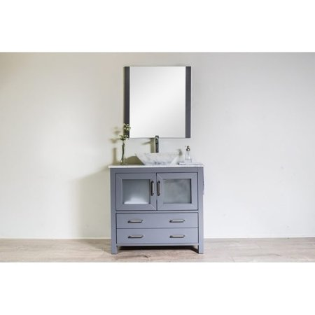 C L L COLLECTIONS Newport Collection 36 inches in Grey w/ Carrara Marble  Top and Carrara Marble Basin