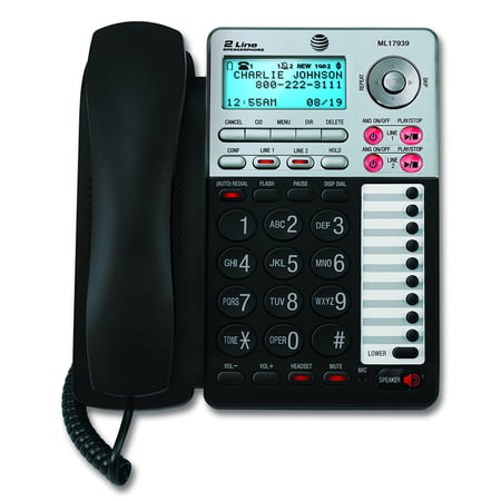 - AT&T ML17939 Two-Line Speakerphone with Caller ID and Digital Answering System