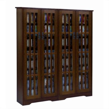 Inlaid Glass Mission Media Cabinet (M-954 Series)-Finish:Dark Cherry by