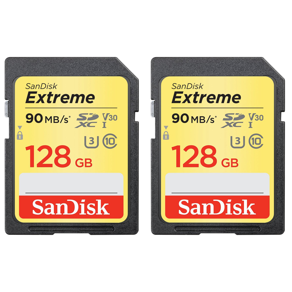 2 Pack of Sandisk 128GB Extreme SD Memory UHS-I Card (SDSDXVF-128G-ANCIN)