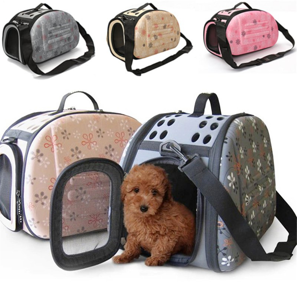 Portable Pet Small Dog Cat Sided Carrier Travel Tote Shoulder Bag Cage Kennel Perfect for Cats and Small Dogs