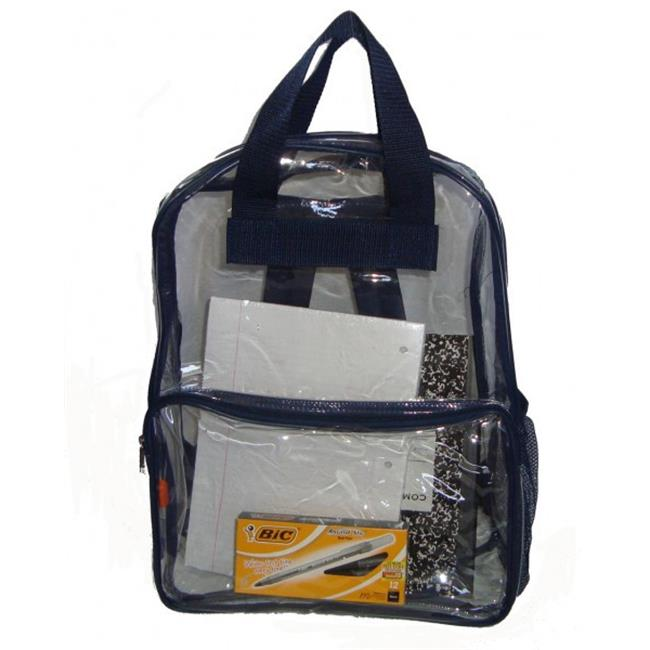 Bulk Buys See-through clear PVC backpack, 17x13x5 in. , Navy. - Case of 40