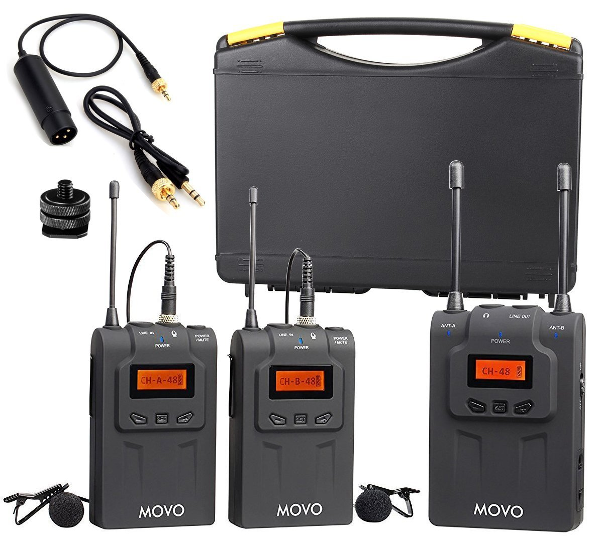 Movo WMIC80 UHF Wireless Lavalier Microphone System with 2 Bodypack Transmitters, Portable... by Movo