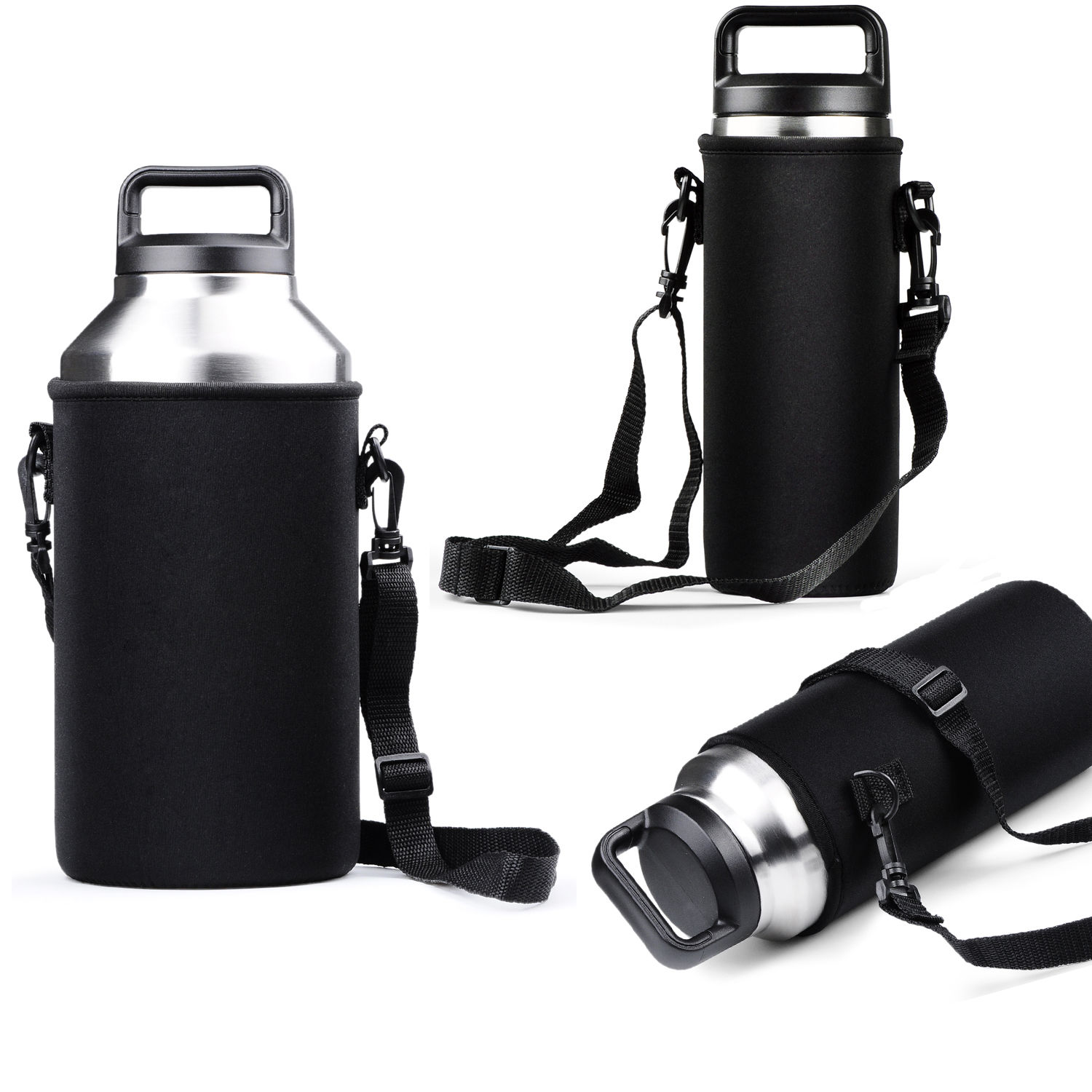 Black Bottle Sleeve Carrying Pouch Bag with Handle For Yeti 18/36/ 64 oz Cup