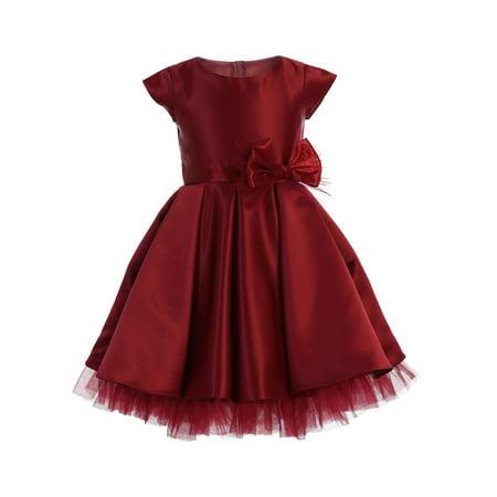 Sweet Kids Girls Burgundy Full Pleated Satin Junior Bridesmaid Dress