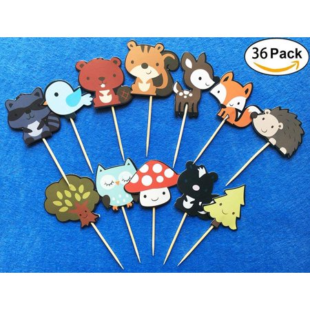 36-pack Cute Woodland Creatures Cupcake Toppers Picks, Woodland Animal Friends Cake Toppers, Kids Woodland Theme Baby Shower Birthday Party Cake Decoration Supplies. Animal Birthday Cakes