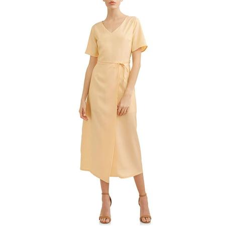 Women's Flutter Sleeve Wrap Dress (V-neck Flutter Sleeve Dress)