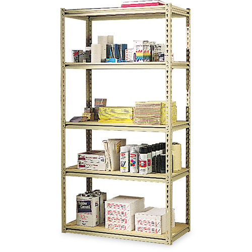 Tennsco Stur-D-Stor Shelving, Five-Shelf, 36w x 18d x 72h, Sand