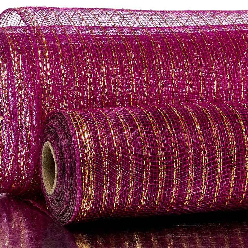 "10"" X 10 Yards Plum Deco Mesh W/Metallic Stripes by Paper Mart"