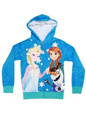 Frozen Group Shot Tweens Blue Hooded Sweatshirt