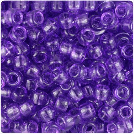 BeadTin Amethyst Transparent 9mm Barrel Pony Beads (500pc)