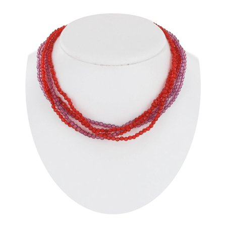 - Small Faceted Faux Crystal Red Purple Magnetic Clasp Multi Strand Layered Necklace