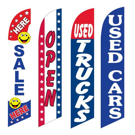 4 Advertising Swooper Flags Sale Here Open Used Trucks Used Cars