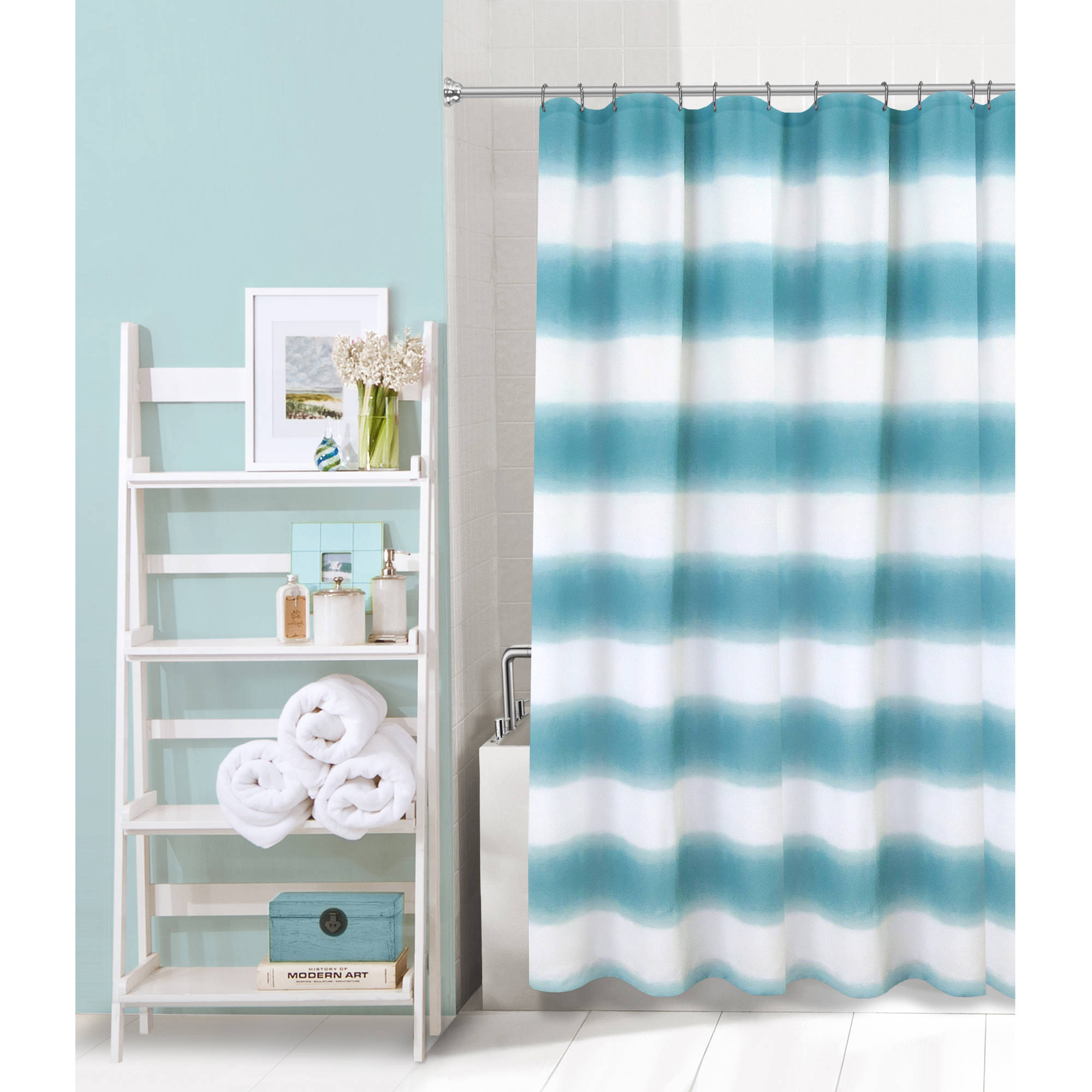 Mainstays Fading Stripe Printed Shower Curtain
