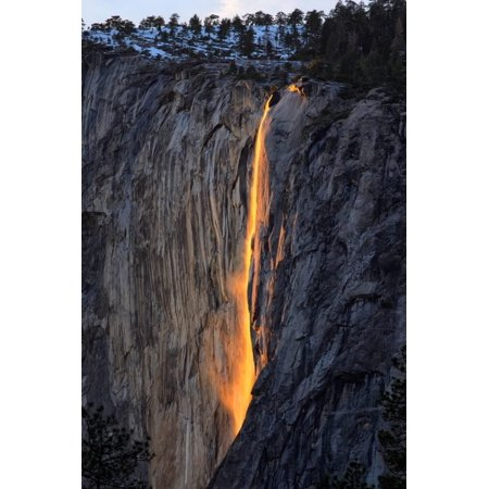 As Fire Falls, Firefall, Horsetail Falls, Yosemite National Park, Rare Light Print Wall Art By Vincent - Rare Antique Dog Art