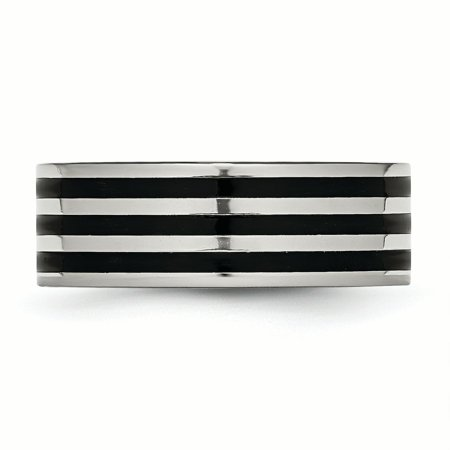 Stainless Steel 8mm Black Plated Striped Wedding Ring Band Size 7.00 Fashion Jewelry Gifts For Women For Her - image 5 de 10