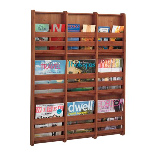 "Safco Bamboo Magazine/Pamphlet Wall Display, 29""W x 1-3/4""D x 37-3/4""H, Cherry"