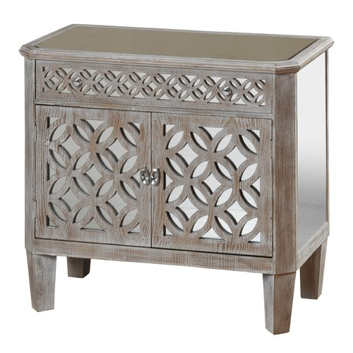 Rosdorf Park Lyra Mirrored And Distressed 2 Door 1 Drawer Accent Cabinet
