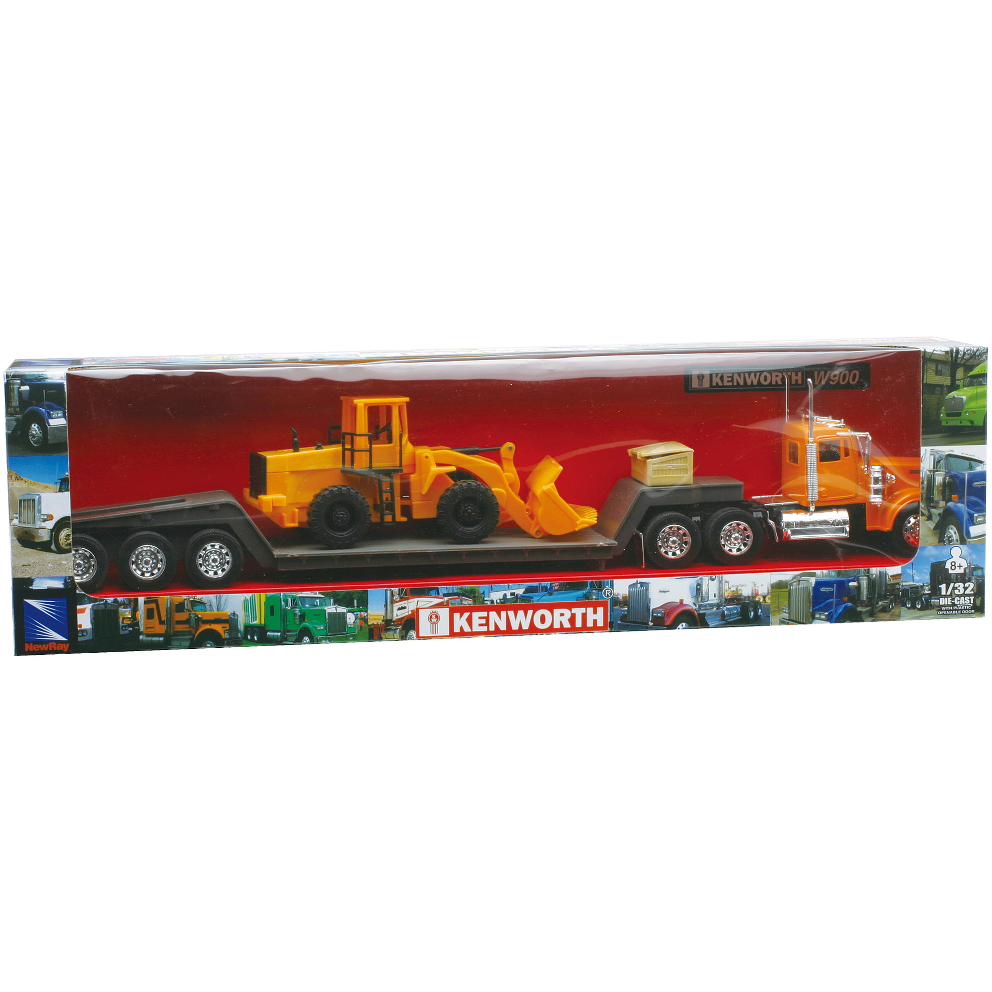 1:32 Scale Die-Cast Kenworth W900 Lowboy Tractor Trailer with Construction Tractor by New-ray Toys