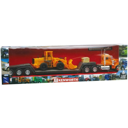 Volvo Tractor Trailer (1:32 Scale Die-Cast Kenworth W900 Lowboy Tractor Trailer with Construction Tractor )