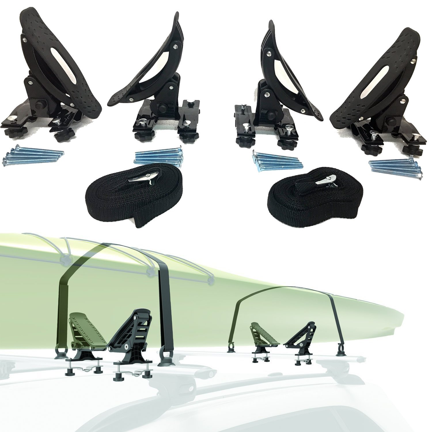 Click here to buy Egreaten Universal Saddles Kayak Carrier Canoe Boat, Surfboard Skiboard top roof Mounted... by China.