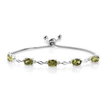 Oval Cubic Zircon CZ Garnet Cubic Zircon CZ Pink Tennis Bracelet for Women Cttw 5.2 Jewelry Gift