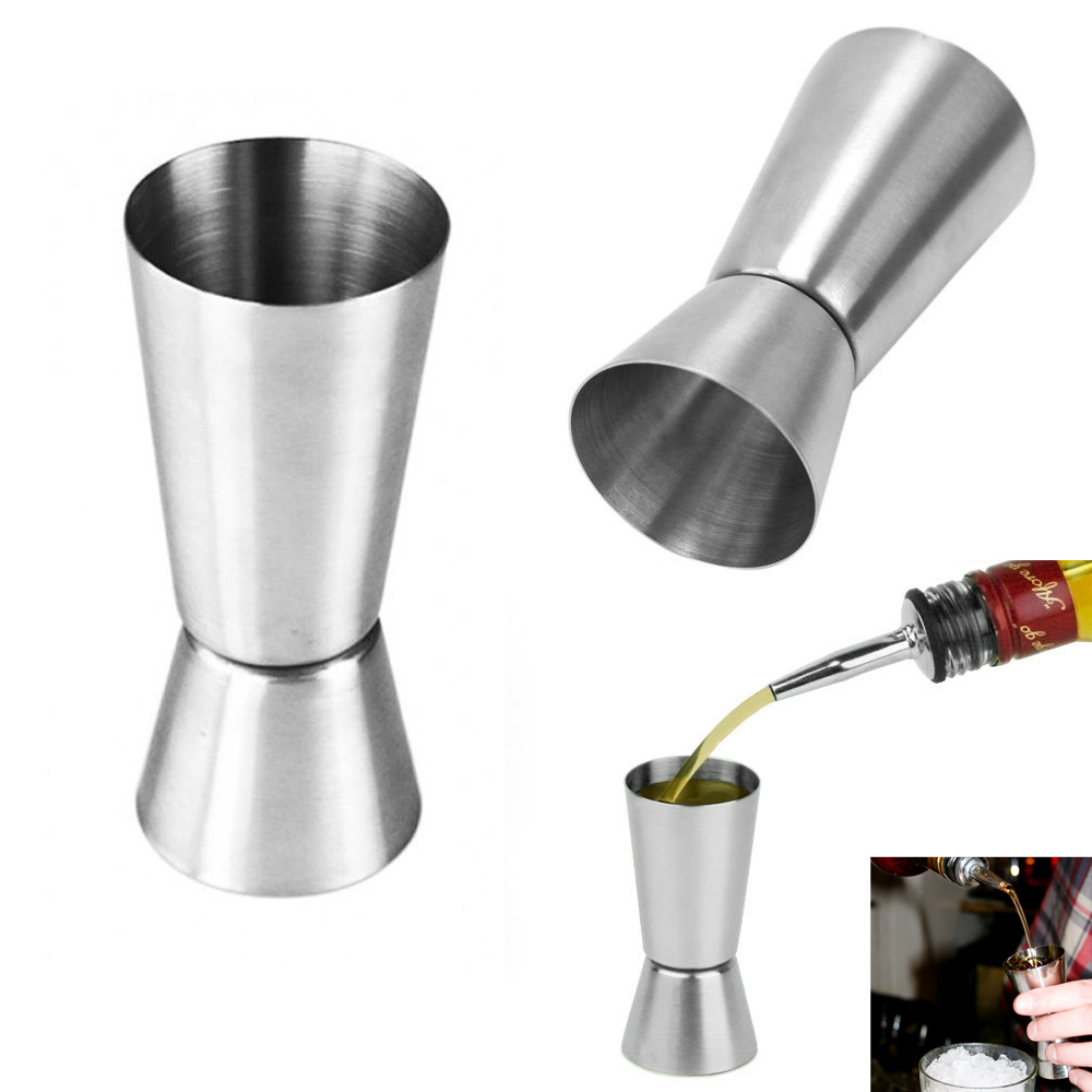 1 Stainless Steel Jigger Cocktail Double Measure Mixing Liquor Drinks Bar Shots