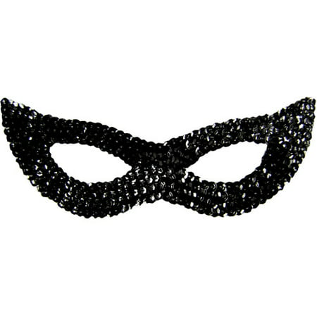 Sequin Cat Adult Halloween Mask Accessory - Black Cat Superstitions Halloween