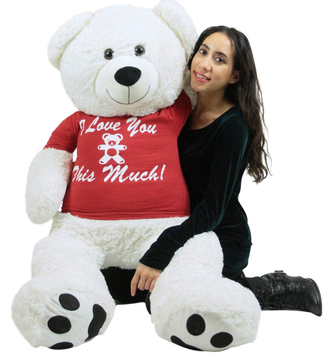 Giant White Teddy Bear 52 Inch Soft Big Plush, Wears Removable T-shirt I