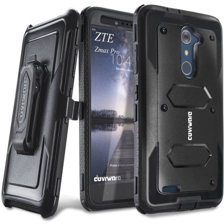 COVRWARE® ZTE ZMAX PRO - [Aegis Series] w/ [Built-in Screen Protector] Heavy Duty Full-Body Rugged Holster Armor Case [Belt Swivel Clip][Kickstand]For ZTE ZMAX PRO (2016 Release) / ZTE Carry, Black