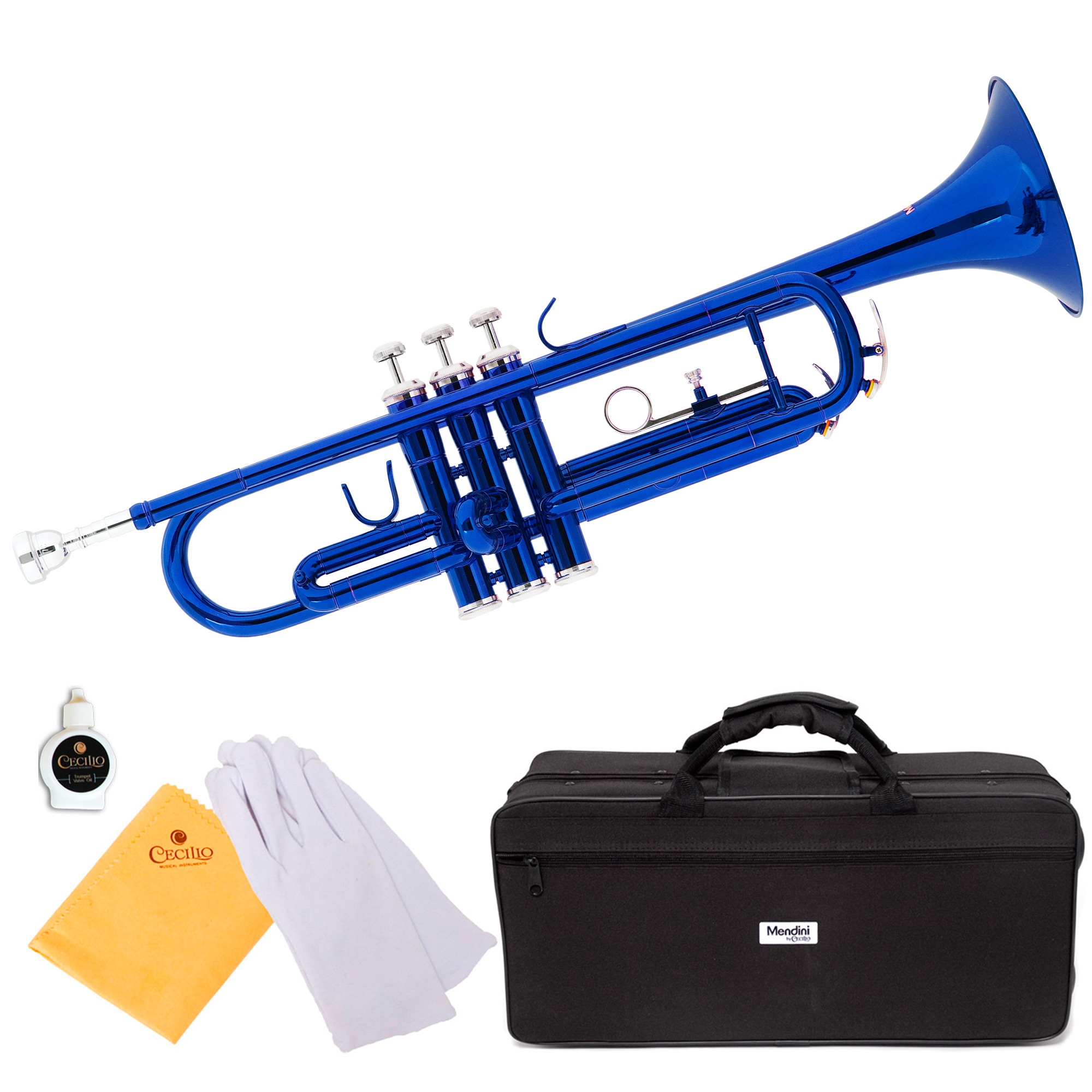 Mendini by Cecilio MTT-BL Blue Lacquer Brass Bb Trumpet with Durable Deluxe Case and 1 Year Warranty