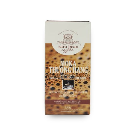Zara Bean Coffee Pure Natural Premium Moka Gourmet Coffee Blend - Perfectly Robust Flavor Medium Craft Roast - Roasted Coffee Beans - No Preservatives Vietnam (250g Beans)