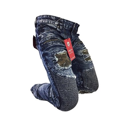 7c992945 Victorious - Men's Victorious Jeans Skinny Leg Distressed Dark Blue Acid  Wash Biker Style Design With Patches DL1090 - Walmart.com
