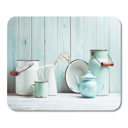 SIDONKU Country White Rustic Enamelware Table Over Blue Wooden Wall Mousepad Mouse Pad Mouse Mat 9x10 inch ()