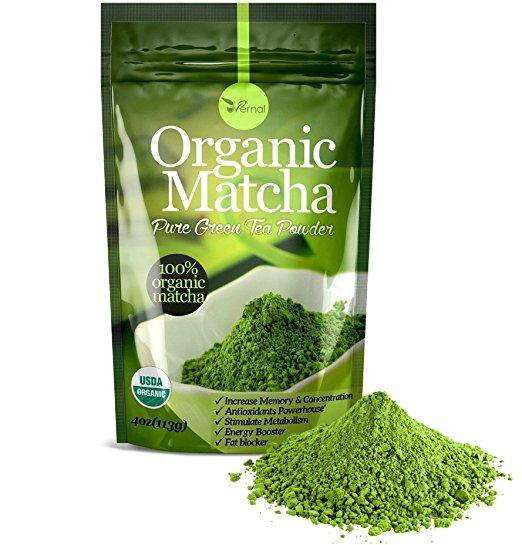 Organic matcha green tea powder - 100% pure matcha ( no sugar added - unsweetened pure green tea - no coloring added like others ) 4oz