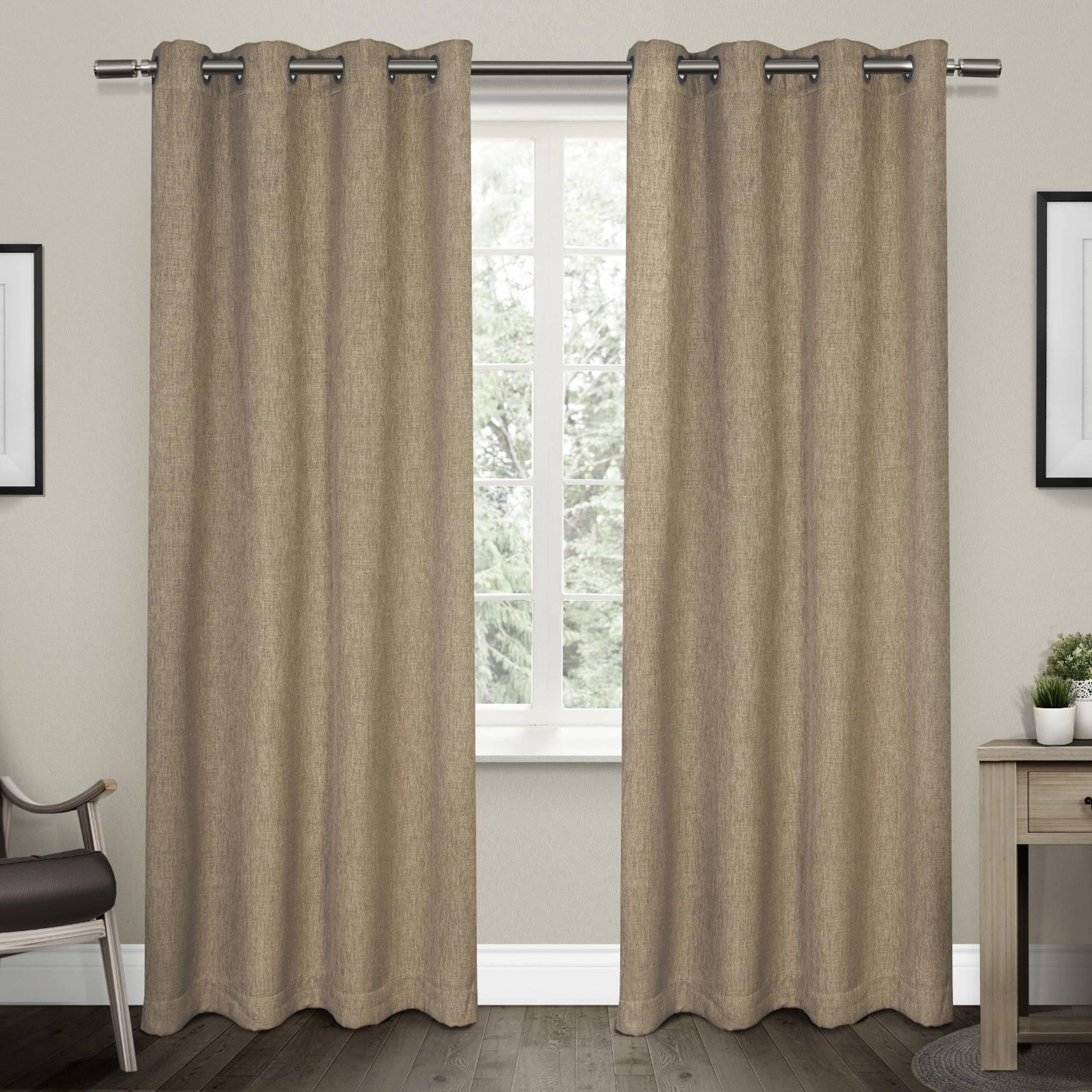 Vesta Heavy Textured Linen Woven Room Darkening Grommet Top Window Curtain Panel