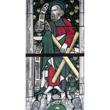 Century Stained Glass - Apostle Andrew  stained glass  13th century Poster Print