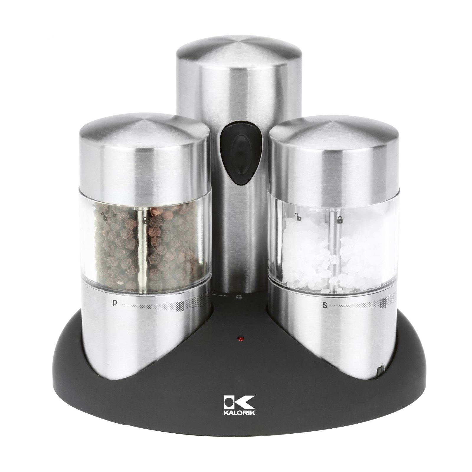 Kalorik Rechargeable Electric Stainless Steel Salt and Pepper Grinder Set