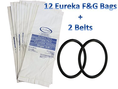 12 Bags For Eureka Style F G Vacuum Cleaner Sanitaire Commercial 2 Belts