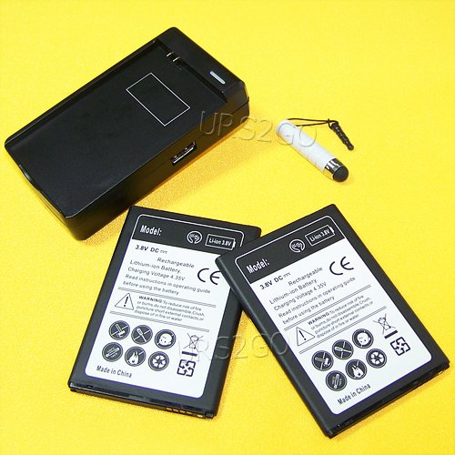 High Capacity 2x 4300mAh replacement Battery USB Charger ...