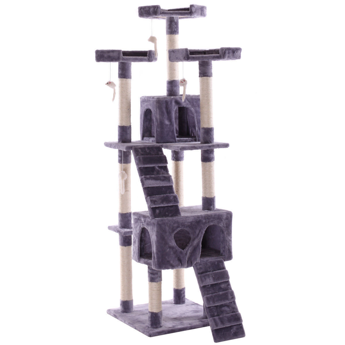 "67"" Cat Tree Pet Scratching Post Tower Condo Furniture Kitty Play House Gray by"
