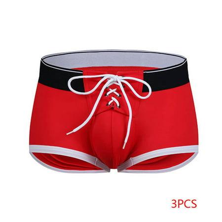 3Pcs Men Boys Boxer Brief Strap Pouch Trunks Male Shorts Bulge Pouch Underwear Swimming Underpants ()