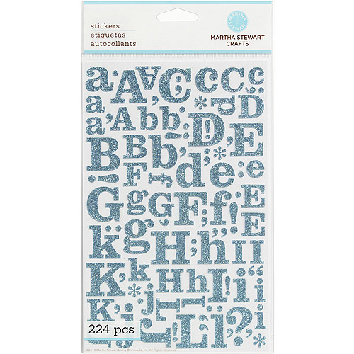 Martha Stewart  Large Blue Glitter Alphabet Stickers