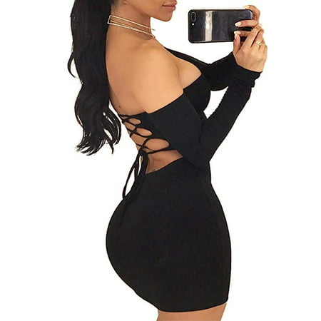 Ladies Sexy Backless Lace-up Skirt Dress Women Fashion Straight Collar Off Shoulder Skirt Night Club Slim Clothes