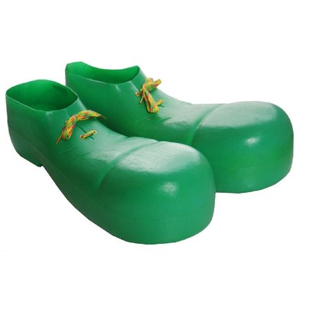 Child Plastic Clown Circus Jumbo Shoes Bozo Goofy Oversized Costume Accessory (Green Clown Shoes)