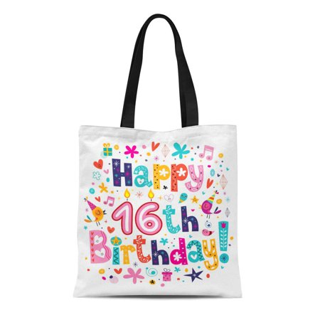 KDAGR Canvas Tote Bag Sweet Happy 16Th Birthday Sixteen Congratulation Inscription Party 50S Durable Reusable Shopping Shoulder Grocery Bag](50s Themed Sweet 16)
