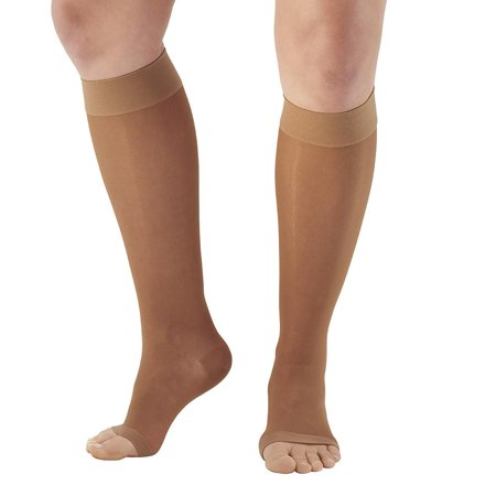 be03d53582335 Ames Walker Women's AW Style 44 Sheer Support Open Toe Compression Knee  High Stockings - 20-30 mmHg Nylon/Spandex 44-P - Walmart.com