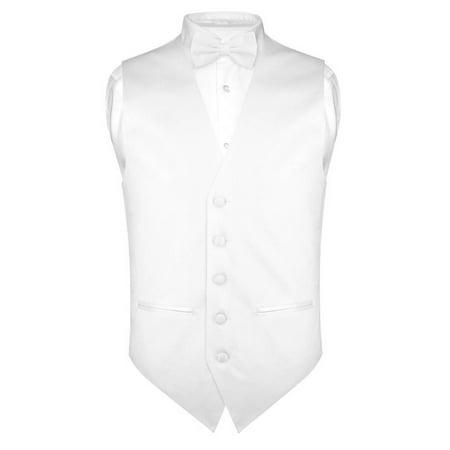 Vest Bow Tie (Mens SLIM FIT Dress Vest BowTie Solid WHITE Color Bow Tie Handkerchief)